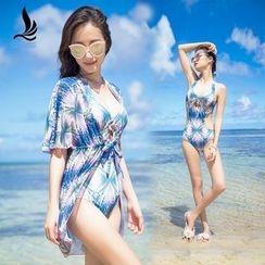 SANQI - Set : Print Cutout Swimsuit + Cover-up