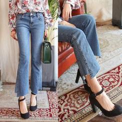 PPGIRL - Frey-Hem Boot-Cut Jeans