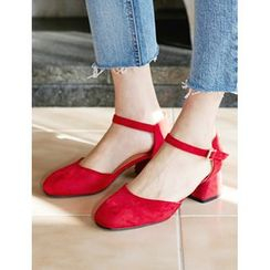 FROMBEGINNING - Faux-Suede Ankle-Strap Pumps