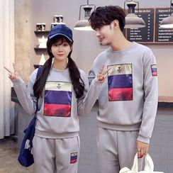 Azure - Couple Matching Set: Print Pullover + Sweatpants