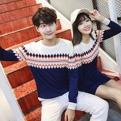 Azure - Couple Matching Patterned Knit Pullover / Dress