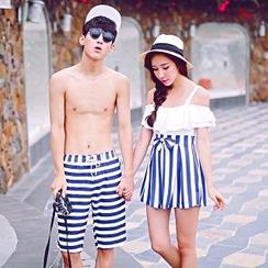 Sirene - Striped Panel Swimdress / Beach Shorts
