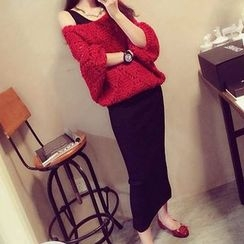 NEUF - 3/4-Sleeve Cable Knit Sweater