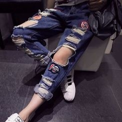 Melon Juice - Ripped Straight-Cut Jeans