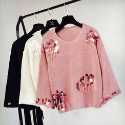 Cotton Candy - Sequined V-Neck Sweater
