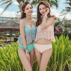 Blue Lagoon - Set: Plain Bikini + Mesh Top