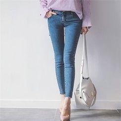 ERANZI - Fray-Hem Washed Skinny Jeans