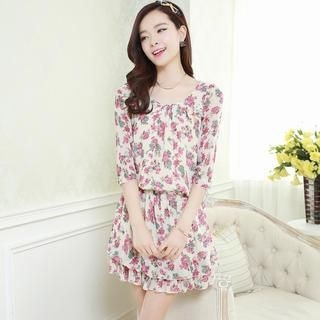 Aierys - 3/4-Sleeve Floral Chiffon Dress