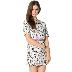 59 Seconds - Feather Print Shift Dress (Belt not Included)