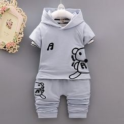 POMME - Kids Set: Bear Applique Short Sleeve Hoodie + Striped Long Sleeve Top + Pants