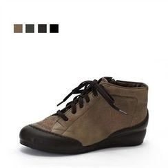 MODELSIS - Embroidered Genuine Leather Sneakers