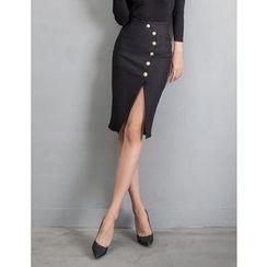 GUMZZI - Buttoned Slit-Front Skirt