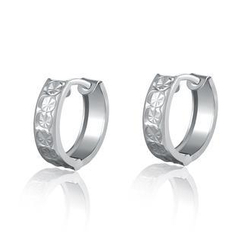 MaBelle - 14K/585 White Gold Circle Pattern Huggie Hoop Earrings