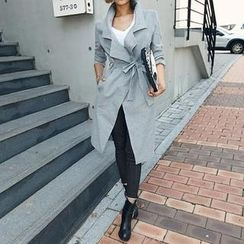 DABAGIRL - Wide-Lapel Trench Coat with Sash
