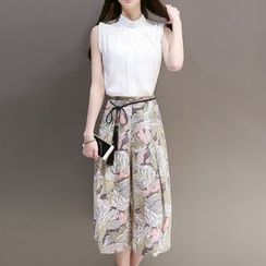 Ekim - Set: Stand Collar Sleeveless Blouse + Floral Print Cropped Wide Leg Pants