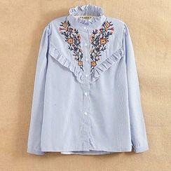 Suzette - 皺褶邊刺繡襯衫