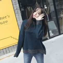 Envy Look - Turtle-Neck Contrast-Trim Sweater