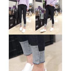 hellopeco - Fray-Hem Skinny Jeans