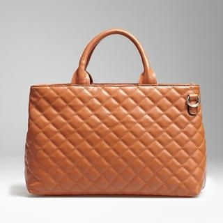 Moonbasa - Faux-Leather Quilted Tote