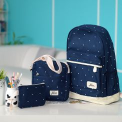 Golden Kelly - Set: Polka Dot Canvas Backpack + Crossbody Bag + Pouch