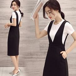 lilygirl - Set: Plain Short-Sleeve T-Shirt + Midi Pinafore Dress