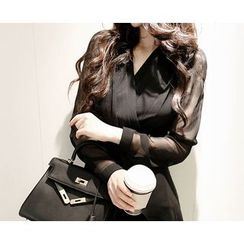Marlangrouge - Sheer-Sleeve Peplum Blouse
