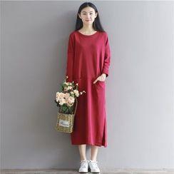 Cherry Dress - Plain Long-Sleeve Midi Dress