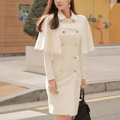 Aurora - Double-Breasted Capelet Trench Coat