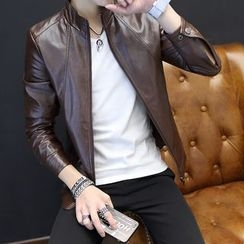 T for TOP - Faux-Leather Zip Jacket