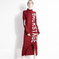 Halona - Slit-Front Lettering Sweater Dress