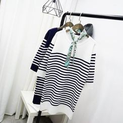 Polaris - 3/4-Sleeve Striped Knit Dress