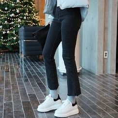 Seoul Fashion - Fray-Hem Washed Boot-Cut Jeans