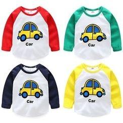 貝殼童裝 - 兒童汽車印花長袖插肩袖T恤