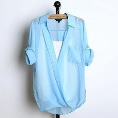 JVL - Tab-Sleeve Chiffon Blouse with Camisole