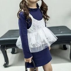 Cuckoo - Kids Set: Frill Trim Long-Sleeve Dress + Embroidered Camisole Top
