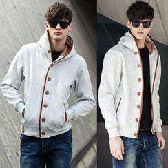 Free Shop - Buttoned Hooded Jacket