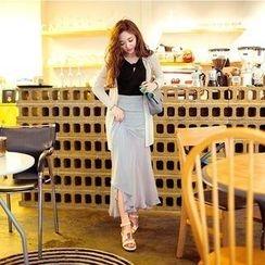 chuu - Chiffon-Hem Long Skirt