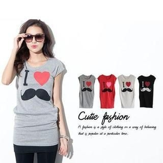 CUTIE FASHION - Short-Sleeve Mustache Print Long T-Shirt