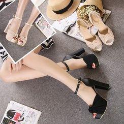Monde - 打结踝带粗跟凉鞋