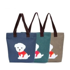 LISEN - Dog Print Canvas Shopper Bag