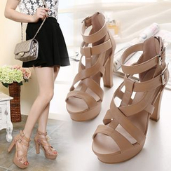 Monde - Strappy High Heel Platform Sandals