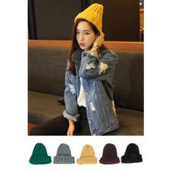 OZNARA - Colored Ribbed Knit Beanie