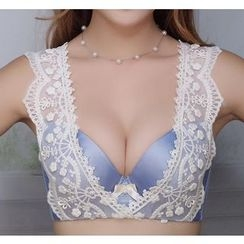 Croix - Set : Lace Panel Embroidered Bra + Panties