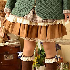 Moriville - Lace Hem A-Line Skirt