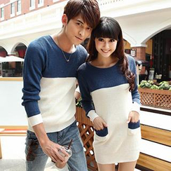 Igsoo - Couple Color Block Knit Top / Knit Dress