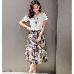 Neeya - Set: Short Sleeve T-Shirt + Printed Midi Skirt