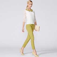 O.SA - Set: Contrast-Collar Lace Blouse + Cropped Pants