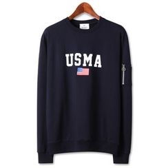 Seoul Homme - Star and Stripe Print Sweatshirt