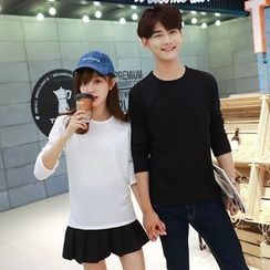 TOOI - Couple Matching Plain Long Sleeve T-Shirt