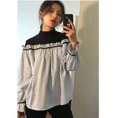 MATO - Mock Neck Striped Panel Long Sleeve Top